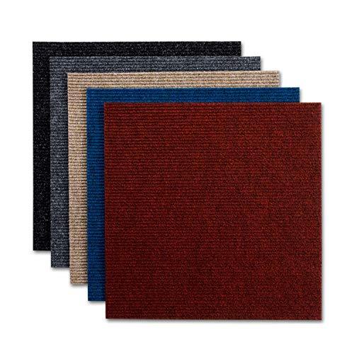 Teppichfliesen Merci | selbstliegend | Robust und pflegeleicht | Bodenbelag für Büro und zu Hause | 50x50 cm | Gerippte Struktur (Rot)