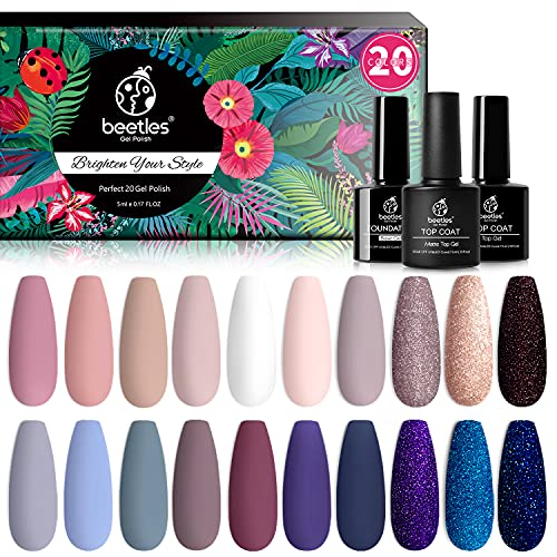 Beetles 20Pcs Gel Nail Polish Kit, with Glossy & Matte Top Coat and Base Coat- Girls Night Collection Popular White Nude…