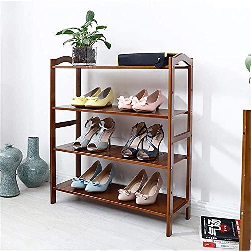 N/Z Inicio Equipo Zapatero de bambú Estante para Zapatos de Almacenamiento Retro marrón de Varias Capas Dormitorio Oscuro Gabinete para Zapatos pequeño Plano Simple Longitud 50x26x80cm 50x26x80cm
