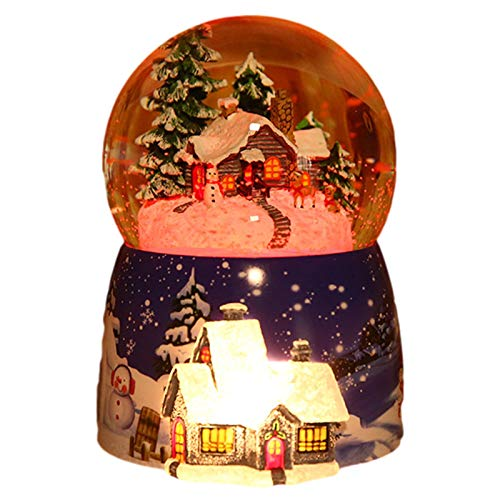 Clevoers Spieluhr Schneekugel Weihnachtskristallkugel Spieluhr Mit Licht LED Schneekugel Weihnachten Elektrischer Schneewirbel Weihnachtsmann Spieldose Geburtstagsgeschenk