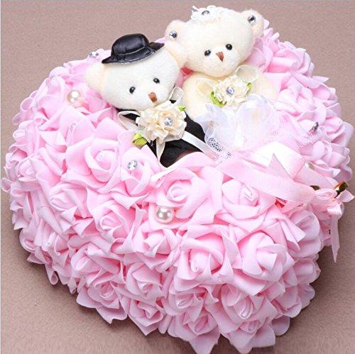 bpblgf Coeur Romantique en Forme de Coussin de Rose Alliance Boîte de Bague de Mousse 25 * 25CM, Pink, 25 * 25cm