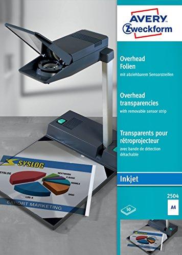 Avery Zweckform 2504 - Transparencias para proyectores (0,11 mm, con banda de detección...