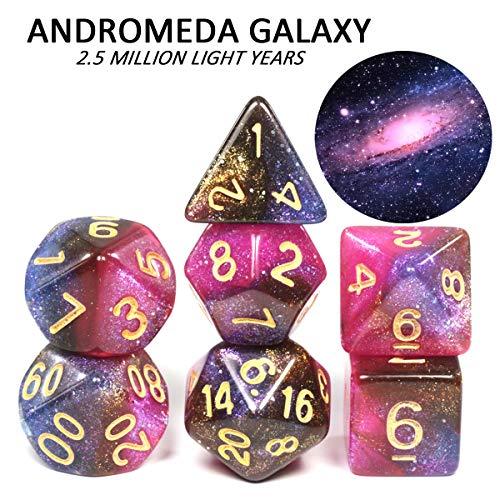 Nologo 闪电 7 Stück Qualitäts-Cosmic Galaxy Konzept Würfel, Rollenspiel, Tischdekoration, 8 Themen, Brettspiel Würfel (Farbe : Andromeda Galaxy A)