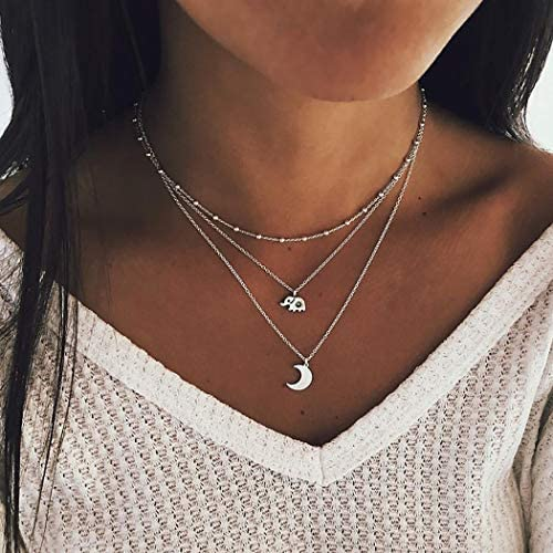 Bniealsy Boho Layered Moon Necklace Silver Elephant Pendant Necklaces Beads Chain Jewelry for product image