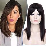 Elailite Parrucca Donna Capelli Veri Nera Human Hair Wigs Taglio BOB Parrucche Lunghe Naturali Brasiliani Senza Lace 40cm 165g