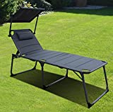 QMBasic ALU SONNENLIEGE gepolstert 48 cm extra hoch mit Sonnendach und Kissen Hochlieger Gartenliege klappbar Anthracite Grau