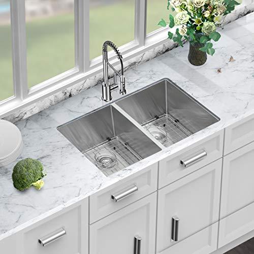 33 Undermount Kitchen Sink - Sarlai 33 Inch Stainless Steel Kitchen Sink Undermount 16 Gauge Round Corner Double Bowl 50/50 Sink Basin