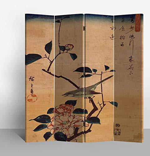 Fine Asianliving Paravent Raumteiler Trennwand Spanische Wand Raumtrenner Sichtschutz Japanisch Orientalisch Chinesisch L160xH180cm Bedruckte Canvas Leinwand Doppelseitig Asiatisch -203-115