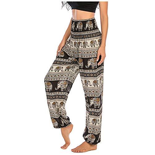 JIEXINXIN Mujer Hombre Hippie Boho PJs Lounge Beach Print Yoga Pantalones (Negro, Freesize)