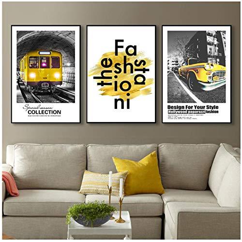 QYH Scandinavische mode canvas schilderij retro gele stijl auto trein brief leven citaat afbeelding kunstdruk woonkamer decor kunst poster 60x80cm niet ingelijst