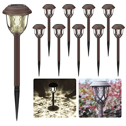 Luci Solari per Giardino, [10 pezzi] Lampada Solare da Giardino Esterno per Prato, LED Lampade Solari Terra IP65 Impermeabile Lampade da Esterno per Passaggio Pedonale Patio Cortile Prato
