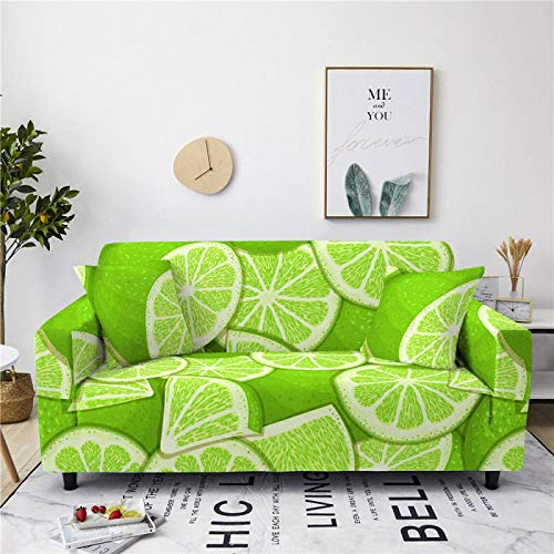 Stretch Sofa Couch Covers Elastic Fabric Green Lemon Fruit Pattern Universal Fitted Armchair Loveseat Settee Slipcover Durable Furniture Protector Home Decor,1,seat 90,140cm