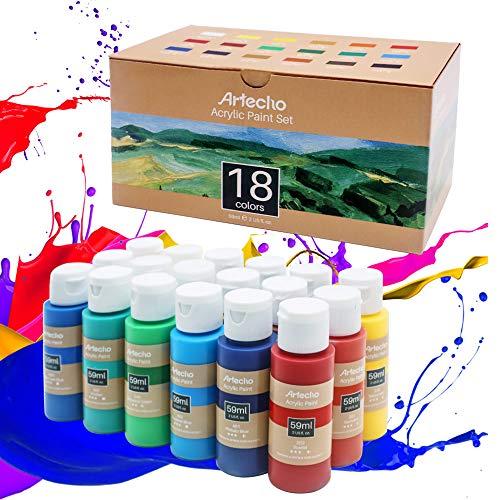 Artecho Pintura acrílica Juego de pintura acrílica para arte, 18 colores 2oz/59ml Suministros de pintura acrílica básica para madera, tela, manualidades, lona, cuero y piedra