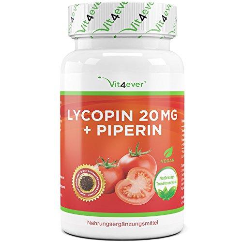 Lycopin 20 mg - 90 Kapseln - Sonderpreis: Kurzes MHD 03/2020 - Carotinoid aus Tomatenextrakt - Hochdosiert - Lycopene Starkes Antioxidans -Vegan - Vit4ever