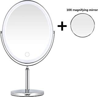 NPET Double Sided Lighted Vanity Makeup Mirror Ultra-thin Rechargeable Wireless Portable and Plug-in Dual-use 1x/5x/10x Magnification