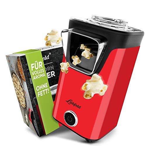 Liebfeld - Popcornmaschine für Zuhause I Popcorn Maker Machine [inkl. Pop Corn Guide] I Popcornmaker ohne Fett & Öl I Popcorn Popper (Rot)