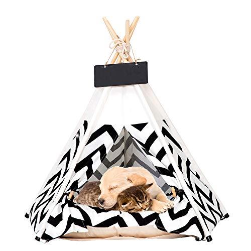 HAPPYX TIPI Tente et Maison & Tableau Noir pour Les Chiens Chats, Nid d'animaux Pet Maison en Toile Bois Amovible Lavable avec Coussin