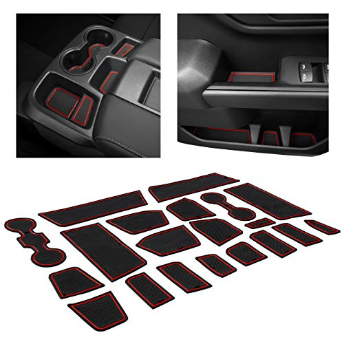 CupHolderHero for Chevy Silverado 1500 and GMC Sierra Accessories 2019-2021 Interior Cup Holder Inserts, Center Console Liner Mats, Door Pocket 20-pc Set (Crew Cab with Bench Seats) (Red Trim)