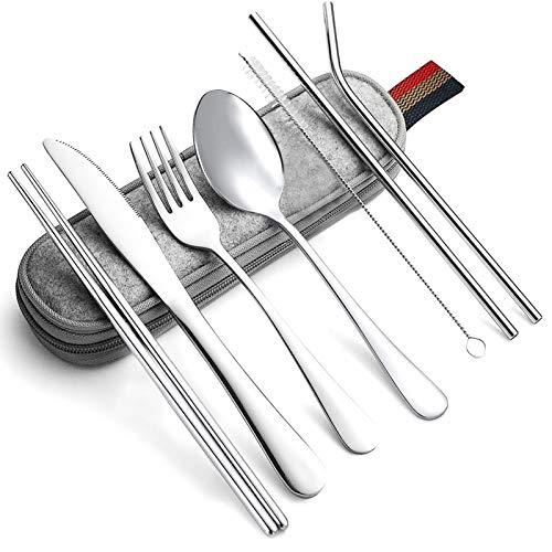 8 pezzi Set di posate portatili ,Set di posate in acciaio inossidabile posate in acciaio inox,posate portatili piccole,Set di posate da viaggio per esterni,posate da picnic,posate portatili (A)