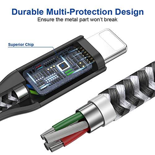 AVIWIS Phone Ladekabel Zertifiziert [3Pack 1M] Nylon Phone Kabel USB Phone Ladekabel Kompatibel für Phone 11, 11 Pro, 8, 8 Plus, 7, 7 Plus, 6s, 6s Plus, 6, 6 Plus, 5s, 5c, 5 - Schwarz
