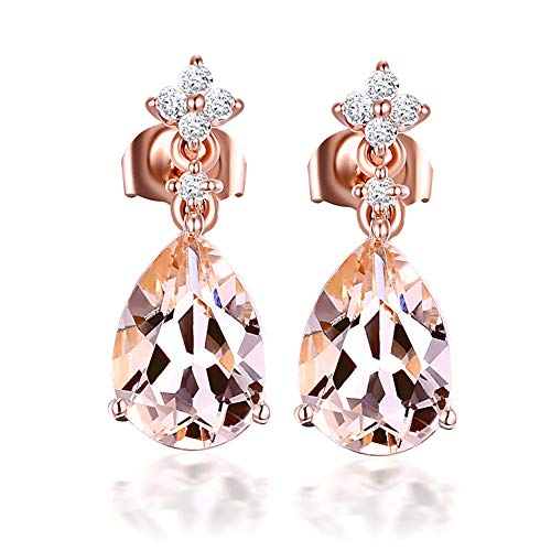 Aimsie Women's Earrings, Water Drop Earrings, Women's Stud Earrings, 18 Carat (750) Rose Gold, Morganite Earrings, Gold 750 Women's Earrings, Real Gold, Rose Gold