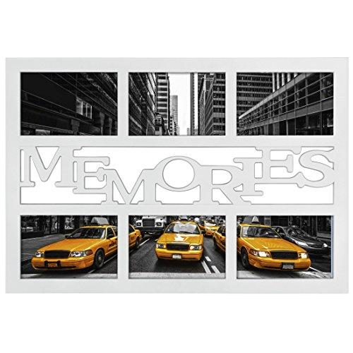 Hama Collage Bilderrahmen für Fotocollagen Budapest - Memories (Fotorahmen mit Memories-Schriftzug für 6 Fotos im Format 10x15, Kunststoff-Rahmen, Echtglas) Fotogalerie weiß