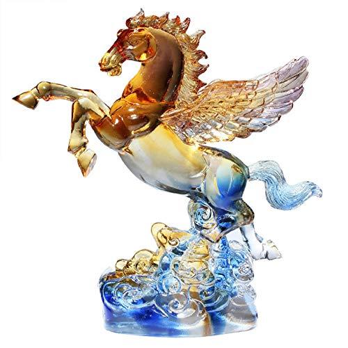 KKJJ Figura de Caballo de Cristal de Cristal Decoración, Cristal de Figuritas de Caballos de Vidrio Caballo de Animal Adorno, Cumpleaños en Casa Decoración de Mesa Regalos,Natural