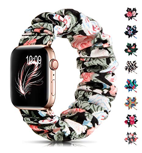 Scrunchie Floral Band Compatible with Apple Watch Bands 38mm 40mm Women,Cute Elastic Soft Fabric Cloth Fadeless Pattern Printed Bands Strap Bracelet Wristbands for Rose Gold iWatch Series 6 5 3 4 2 1