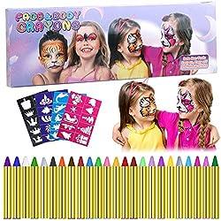 Ofertas Tienda de maquillaje: 【Kits de Pintura de Mejor Valor】El diseño de los palillos de pintura facial es fácil y fácil de usar, 24 palos de fácil pintar caras y 40 plantillas reutilizables gratuitas. Puede pintar caras de fantasía con diseños asombrosos, también puede pintar ...