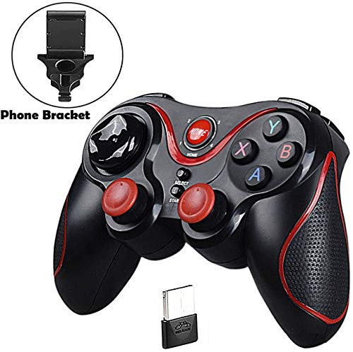 Controlador de PS3 Maegoo, Gamepad Controlador inalámbrico para PS3 PC Smartphone Bluetooth Gamepad Palanca de Mando para PC / PS3 / Smart TV/Smartphone con Soporte de teléfono,Negro