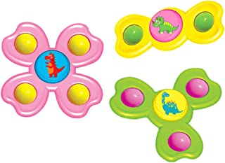 Dorakitten Whirly Spinner Toy Funny 3PCS Interactive Rattle Toy Bath Toy Spinning Top Toy for Kids Sucker Toddlers Rattlin...