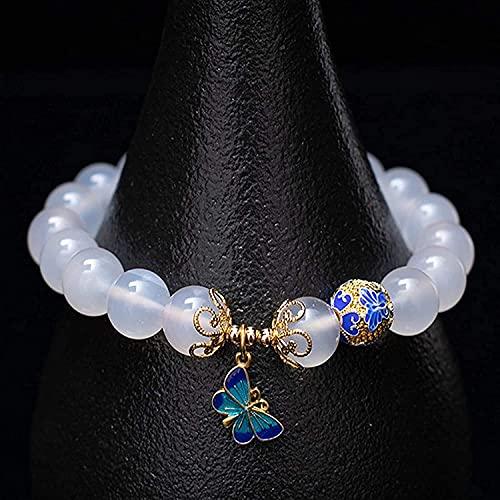 TIANYOU Feng Shui Pulsera de la Riqueza para Las Mujeres Águila Blanca Natural Cloisonne Pulsera de la Mariposa Brazalete Elástico Tallado Tallado Mantra Bead Talisman para la Pr