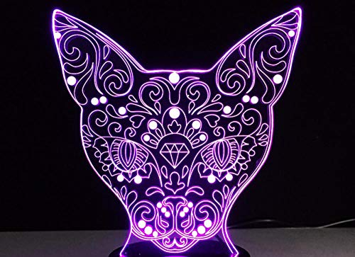 3D Children's Night Light, cat Shape, 16-Color dimmable Toy lamp, USB Charging Table lamp, Cracked Base