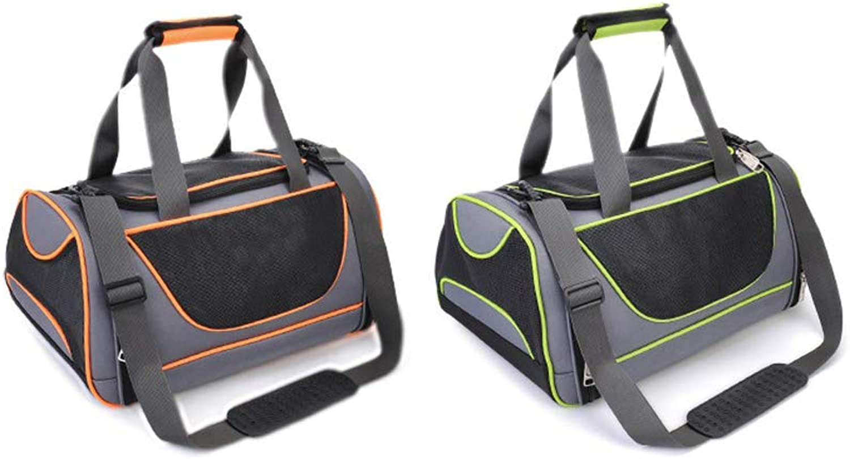 Pet Handbag, Waterproof Padded Soft Side Breathable Mesh Portable Breathable Lightweight Foldable Outdoor Backpack for Pets for Travelling, Walking,orange,M