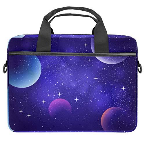 Funda para portátil de 13,4 y 14,5', con correa para el hombro y asa, compatible con todos los ordenadores Galaxy Purple Starry Sky