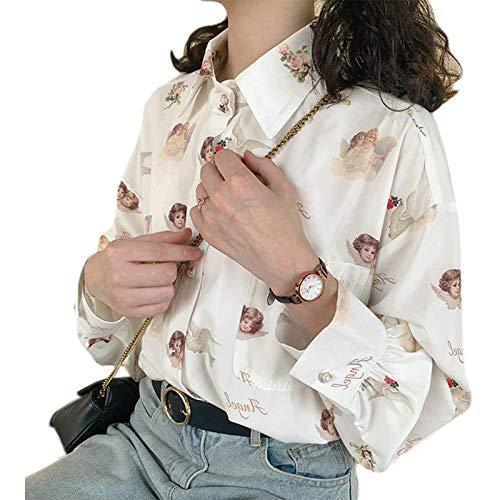 Yiyu Frauen Vintage Laternenärmel Revers Bluse Button Down Nette Engel Print Shirts Harajuku Loose Tops Streetwear Mit Tasche x (Color : White, Size : L)