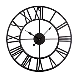 Linpote Large Metal Decorative Round Wall Clock 20 inch 3D Hollow Out Wrought Iron Non-Ticking Silent Wall Clock with Roman Numeral for Office Living Room Bedroom Kitchen (Black)
