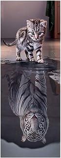 2pcs 3D Door Stickers Lovely Cat Reflection Tiger Posters Wall Decals Door Murals Art Bedroom Door Waterproof Stickers Hom...