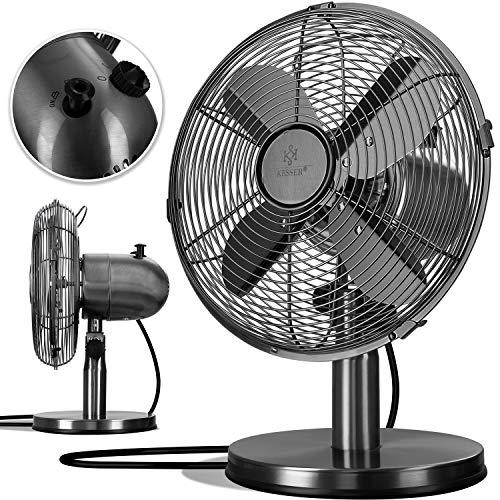 KESSER® - Tischventilator Design Retro Voll-Metallgehäuse 80° Oszillation - leise Ventilator mit 3 Geschwindigkeitsstufen - Zuschaltbare | Windmaschine | Neigungswinkel ca. 40° Metall, Schwarz