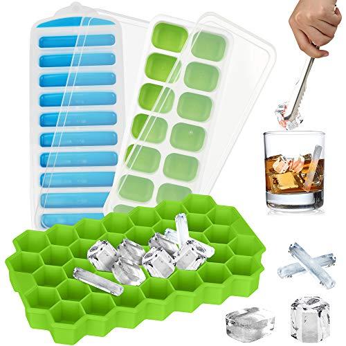 Eiswürfelform Silikon Mit Deckel & Eiszange - 3er Pack Verschiedene Formen Eiswürfelbehälter für Gin Whiskey Cocktail & Eiswürfel für Flasche, Eiswürfelformen BPA Frei