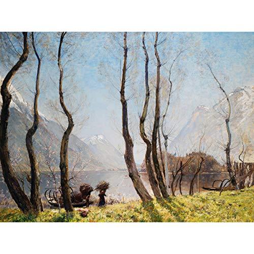 Murray Lago Di Piano Lente Boom Berg Landschap Schilderen Grote Ingelijste Print