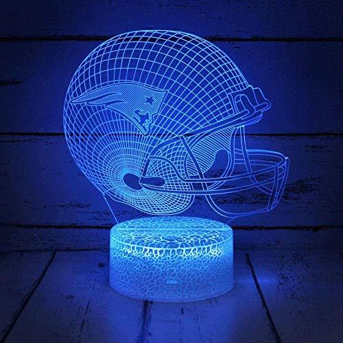 3D Illusion Night Light Beside Table Lamp Football helm New England Patriots Flat 16 Farben ändernde Touch Desk Lampe für Kinder Geburtstag Weihnachtsgeschenke