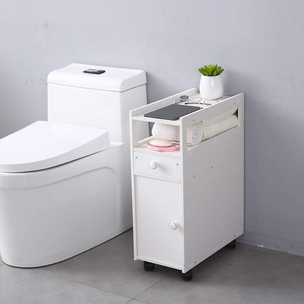 SSLine White Narrow Bathroom Cabinet Toilet Super special price Rolling Wheels New Orleans Mall with