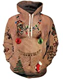 Uideazone Men Women Funny Christmas Naked Shirt Chest Hair Pullover Hoodie Sweatshirt Drawstring Outwear Coat