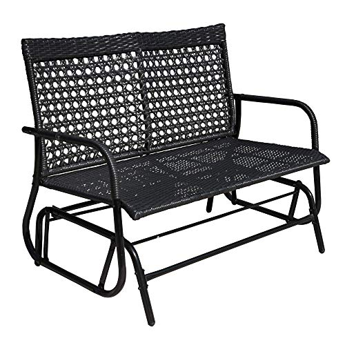 Sundale Outdoor Porch Glider Rocker Chair, Wicker Outdoor Glider, 2 Person Outdoor Bench Loveseat Sofa Cough for Patio, Outside - Black, Wicker, Metal, 500 Lbs Capacity