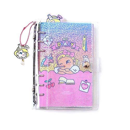 VODVO A6 Cuaderno Cuaderno del Diario del planificador y Revistas Anillo Espiral de Corea Organizador Notebook Transparente DIY semanal libreta Linda (Color : Transaprent, Talla : A6)