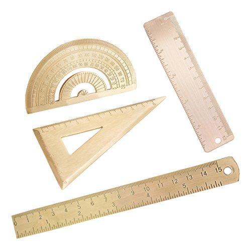 4pcs Messing Lineal Grad Standard Winkelmesser Dreieck Lineal Mathematik Geometrie 12mm Lineal 15mm Lineal Briefpapier