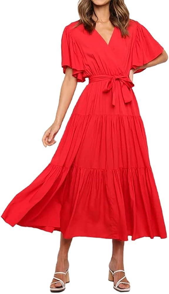 Jillumi Womens Summer Wrap V Neck Maxi Dresses Short Sleeve Pleated Ruffle Long Dress with Belt