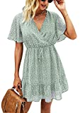 KIRUNDO 2021 Women's Summer Short Sleeve Ruffle Floral Dress Sexy V Neck High Waist Layer Short Mini Dress with Belt (Small, Green)