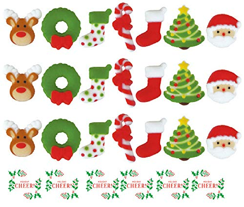 24pk Deluxe Christmas Holly Jolly Sugar Decoration Toppers for Cakes Cupcakes Cake Pops with Sparkle Flakes & Red Christmas Decorating Stickers